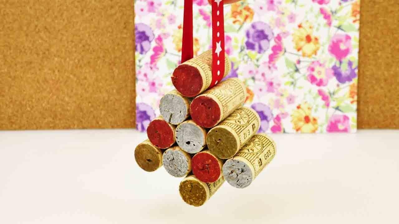 DIY Weihnachtsdeko aus Korken | Süßen Weihnachtsbaum Schmuck selber machen | Silber & Gold