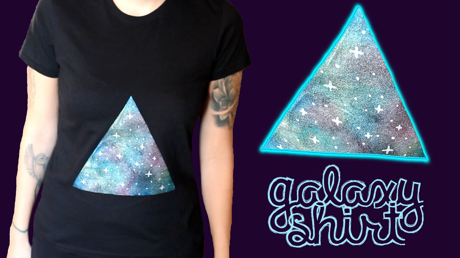 Galaxy Shirt - DIY Upcycling. Refashioning. Textildesign - T-Shirt im Galaxie Design