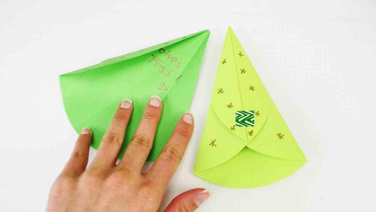 Originelle Weihnachtskarte | Tannenbaum zum Ausklappen falten | Origami Weihnachtsbaum DIY