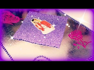 Disney Violetta 3 Hefte Hefter Schulsachen selber gestalten mit Glitza - Basteln Anleitung Tutorial