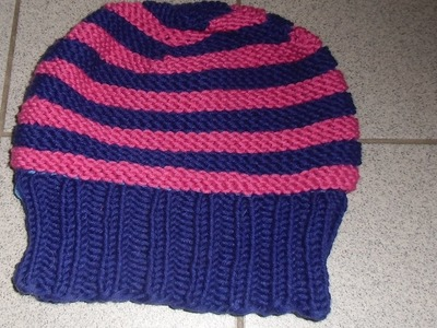 Mütze mit Farbstreifen stricken - Anleitung