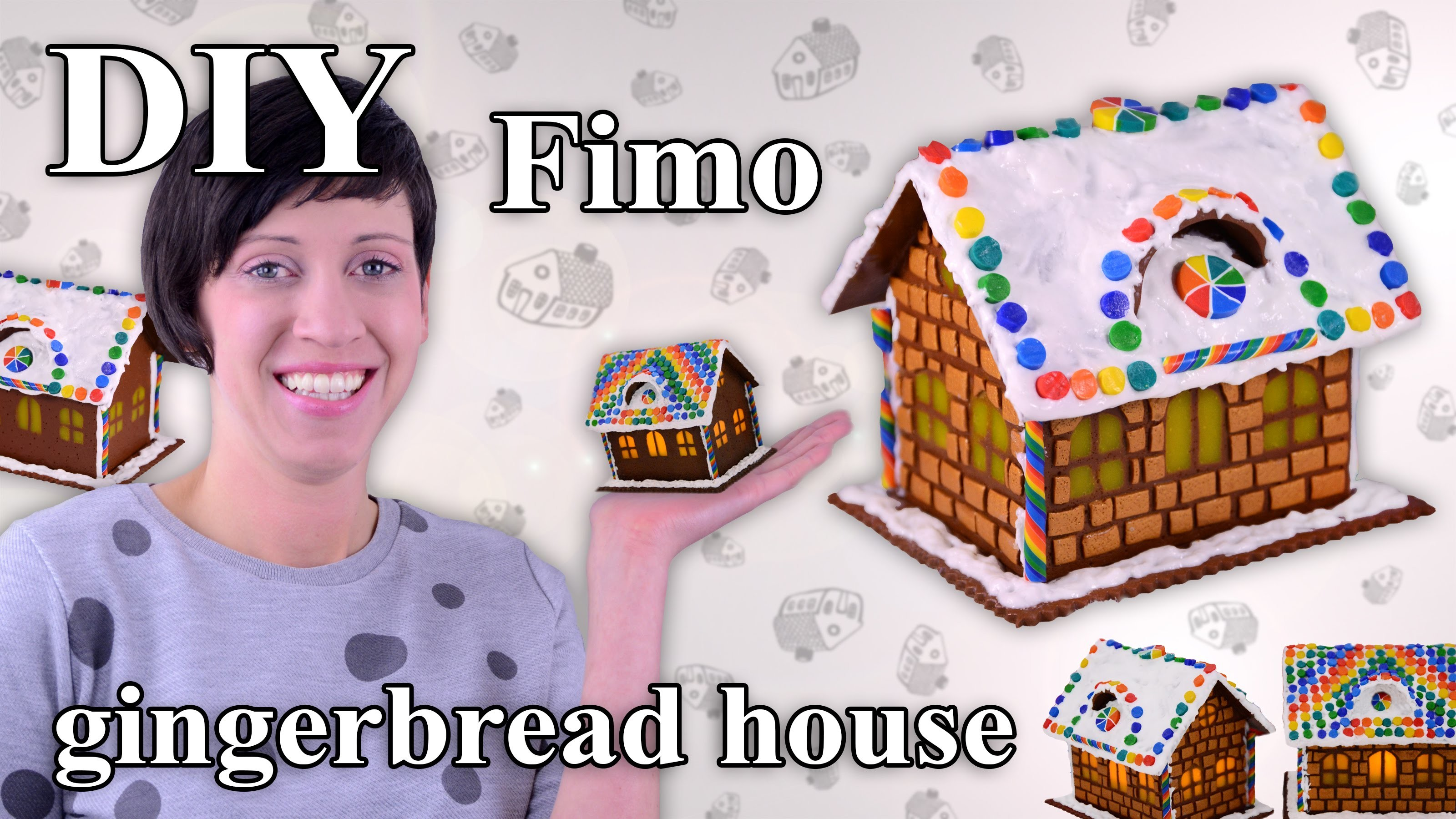 FIMO Lebkuchenhaus: Polymer Clay Gingerbread House - Tutorial [HD.DE] (EN-Sub)