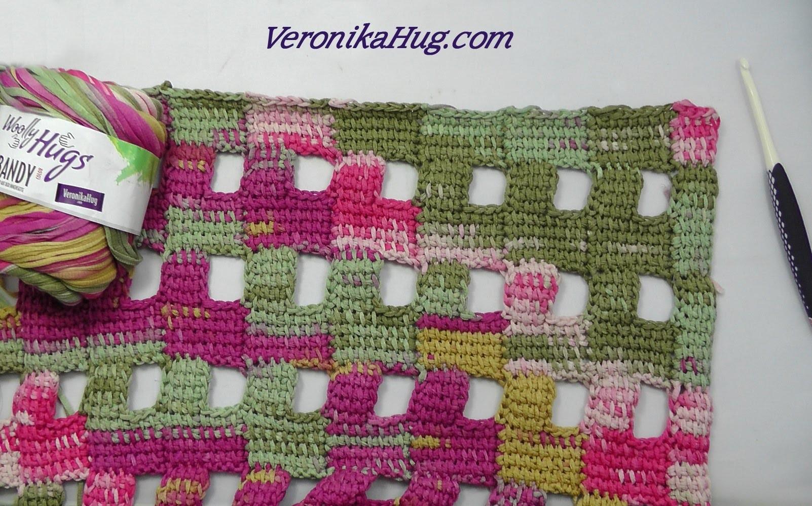 Tunesisch Häkeln - Tuch RAPALLO - Abschlusskante oben - Woolly Hugs BANDY 04 - Veronika Hug