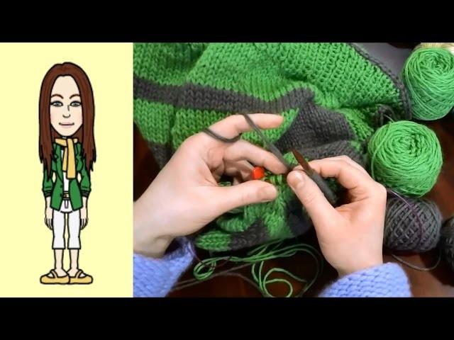 RVO - Raglan von oben Pullover stricken mit Rund-Ausschnitt u Streifen (Teil 7 von 8)