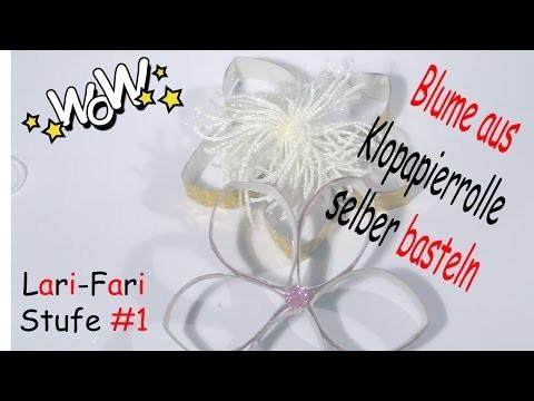 Blume aus Klopapierrolle selber basteln - DIY - Dekoblume aus Toilettenpapierrolle