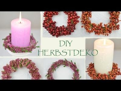 DIY- romantische Herbstdeko mit monochrome Beeren-  und Blütenkränzchen