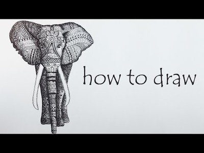 DIY Tutorial ♥ ELEPHANT Speed Drawing ♥ Black & White  Mandala Zentangle