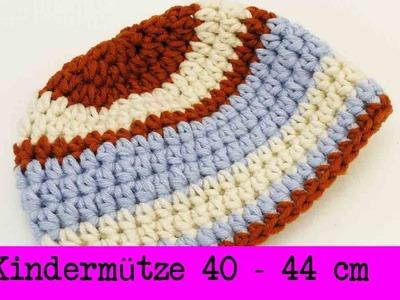 Kindermütze Häkeln | Winter Mütze Größe 40-44cm | Unsichtbarer Rundenübergang & Farbwechsel