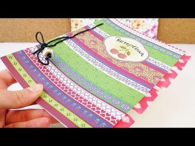 Praktiksches Rezeptbuch gestalten | DIY Heft mit Register anlegen | mit Musterpappe & Aufklebern