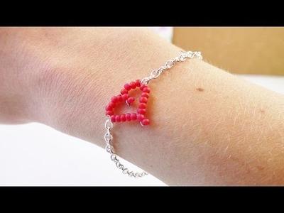 DIY Armband mit Herz aus Perlen |  Filigranes Herzchen selber machen | tolles Geschenk | Modeschmuck