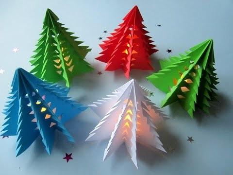 3D Weihnachtsbaum selber basteln. DIY Papier