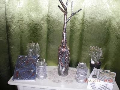 DIY - metal tape art - Alu Tape - Flasche gestalten - Schmuckständer 2