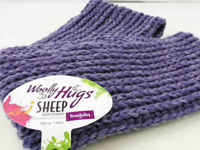 Doppelloop mit Wooly Hugs Wolle |  Patentmuster Winterschal | Warmer Loop Schal