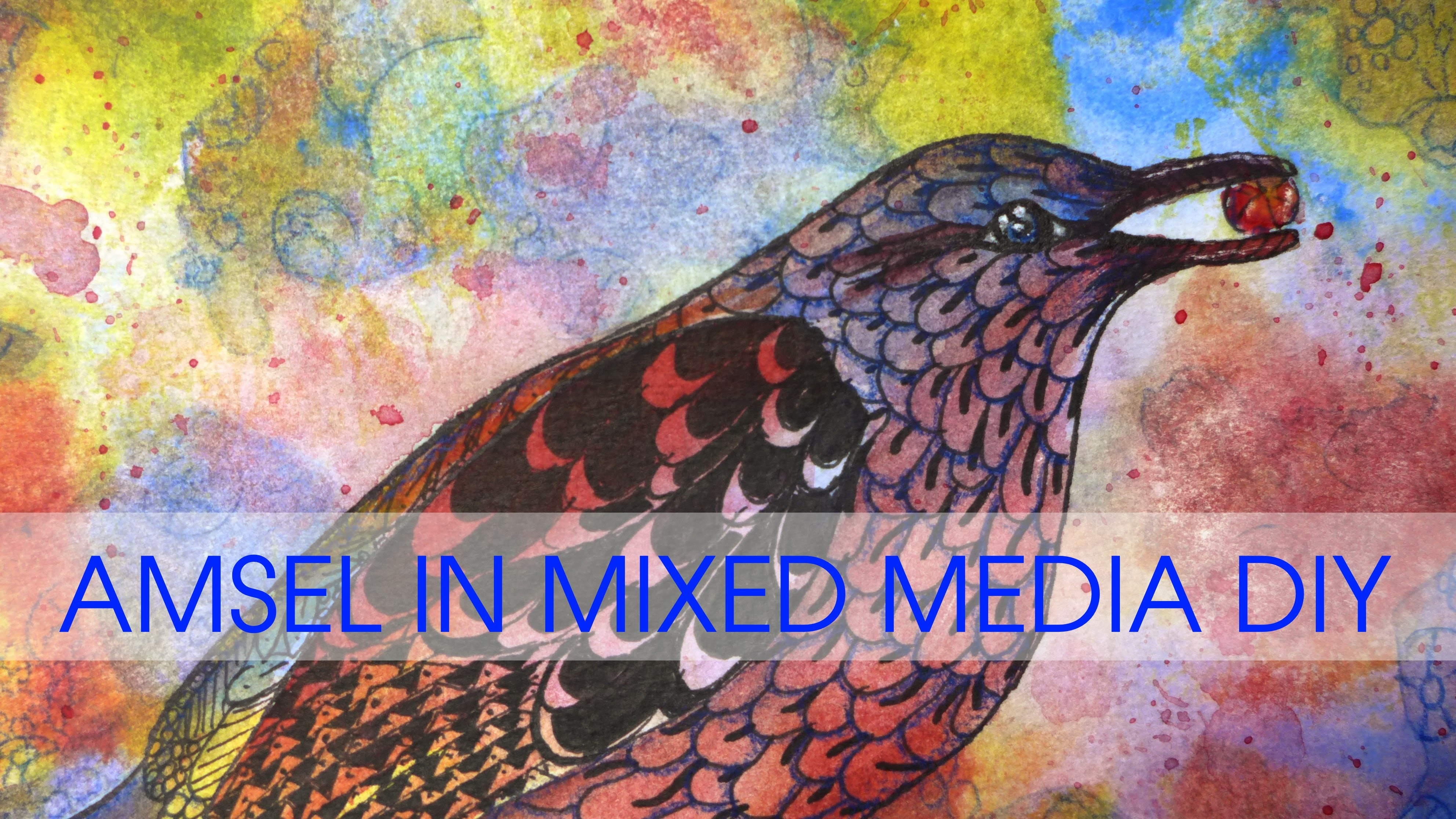 Amsel in Mixed Media malen DIY