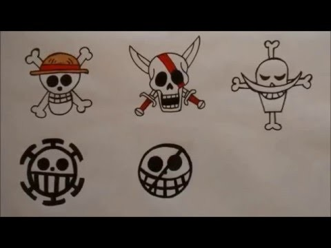 How to draw One Piece Pirate Flags. Jolly Rogers [German Drawing Tutorial]