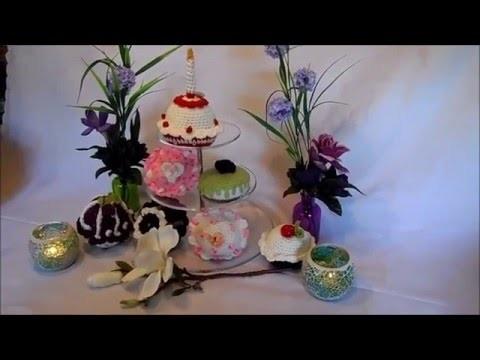 DIY: keka MUFFIN , Cupcake , Törtchen HÄKELN;;selber machen ,Erdbeer Törtchen PART 1