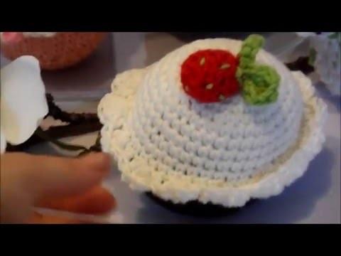 DIY : keka Muffin ,Cupcake,Törtchen häkeln,ERDBEERE Häkeln,selber machen Part 3 ANLEITUNG