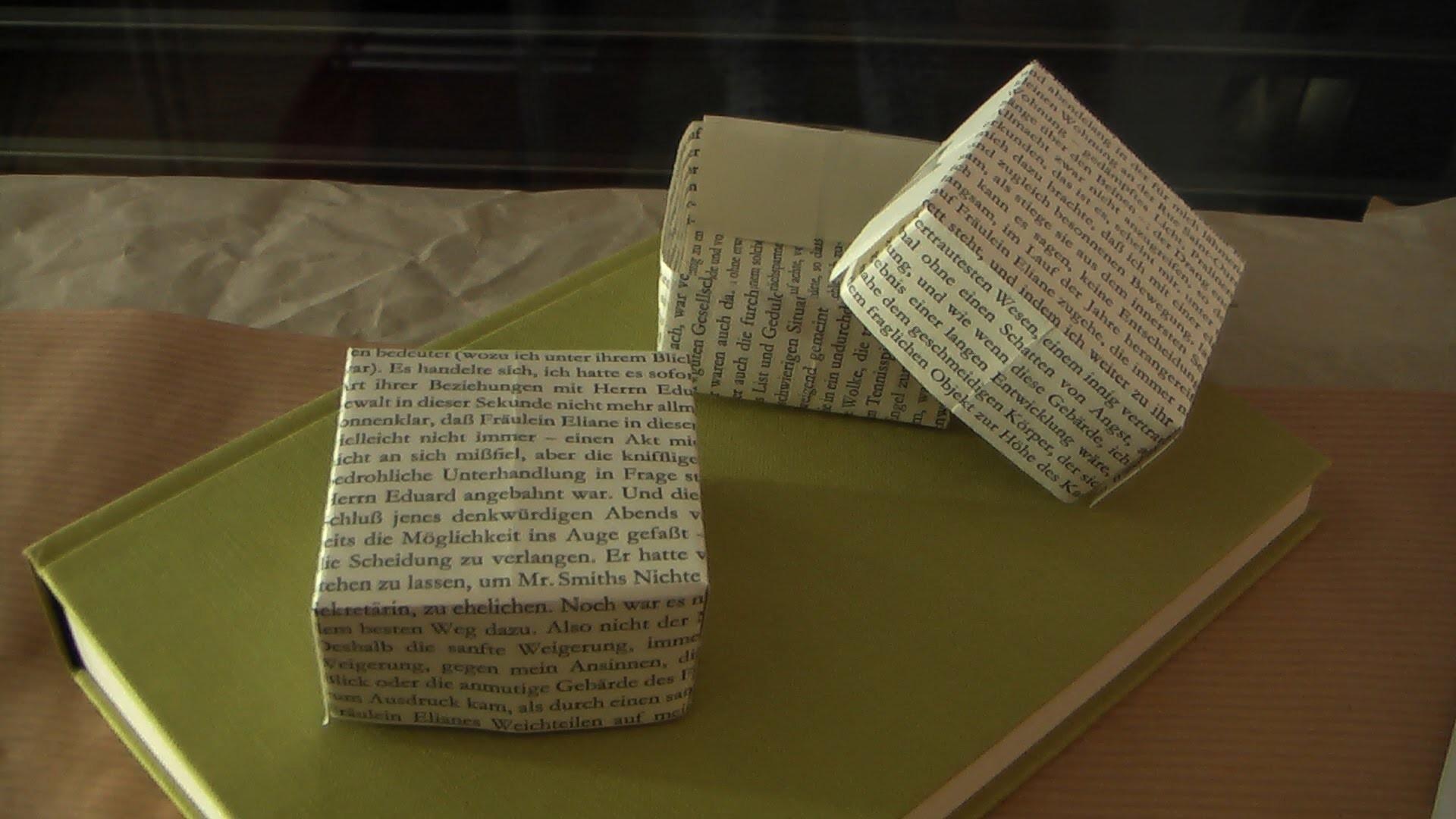 Geschenkbox aus Buchseiten Aufbewahrungsbox Schachtel aus Papier DIY