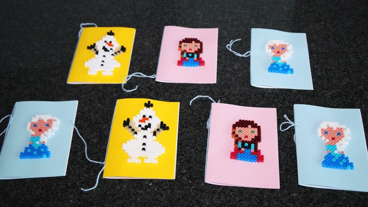 DIY Einladungen zum Kindergeburtstag mit Elsa, Anna und Olaf aus Hama Perlen