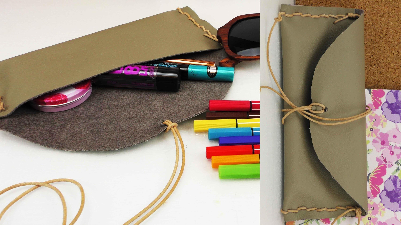 DIY Lederetui Tasche für Kosmetik, für Stifte, für die Sonnenbrille selber machen