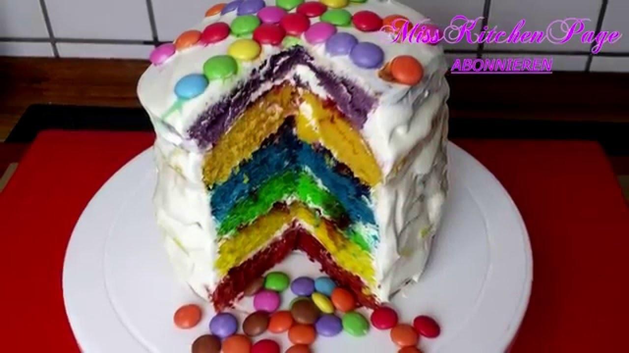 Bunte Smarties Regenbogen Torte. Rainbow Cake. MissKitchenPage