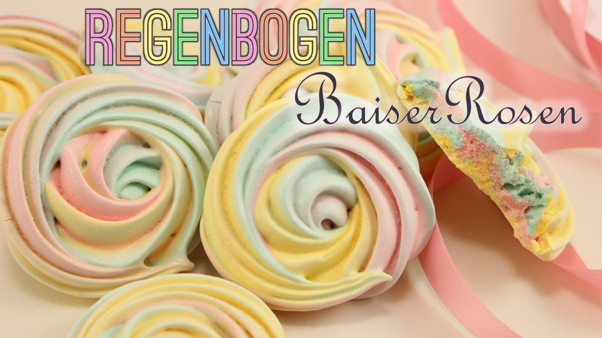 Regenbogen Baiser Rosen   Rainbow Rose Meringue Cookies