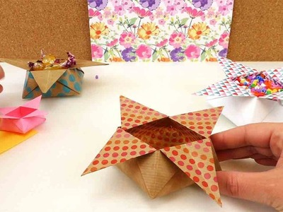 Origami Star Box falten | Weihnachtsdeko Stern | Aufbewahrung für Süßigkeiten | 3D Origami