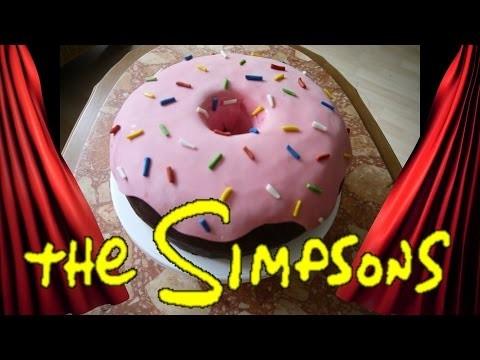 DIY DONUT TORTE Simpsons HOMER Motivtorte Torten dekorieren mit Fondant Vatertag