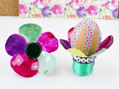 DIY Eierbecher aus Mineralwasserflasche | Blumen Eierbecher für Ostern | Schöne Frühlingsdeko