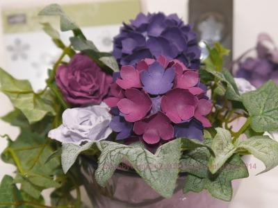 Hortensien aus Papier mit der Stanze kleine Blüte