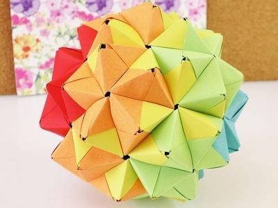Origami aus 90 Teilen | Sonobe Ball in Regenbogenfarben | Großer Origami Stern aus 90 Elementen