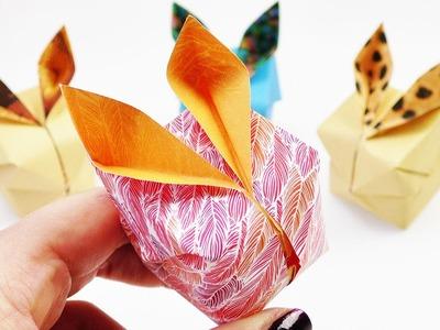 Osterhasen Origami DIY | Süße 3D Hasen als Frühlings Dekoration | Falten mit Musterpapier