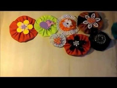 .  Stoffblumen basteln. Recycling-Basteln