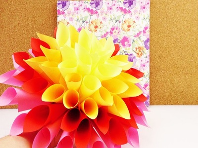 Super große Papier Blume als Frühlingsdeko | Dahlie aus Notizzetteln kleben | Super Zimmerdeko