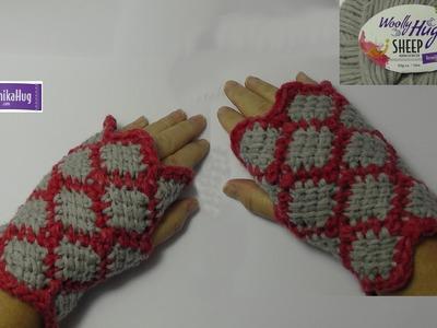 Tunesisch Häkeln - Armstulpen Woolly Rauten - Veronika Hug