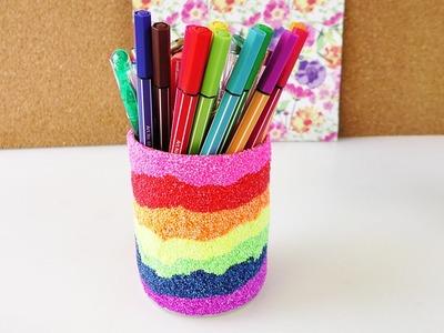 Wolkenschleim Stifte Becher in Regenbogenfarben   Super Schreibtisch Idee   Schön & Praktisch
