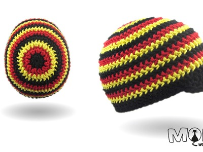 Mütze häkeln - Rosenstäbchen häkeln - halbe Stäbchen im Zickzack Muster - Deutschland Mütze häkeln