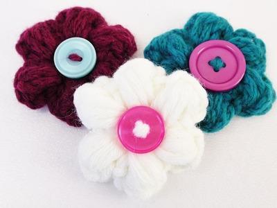 Süße Frühlings Blumen Häkeln | Blumen aus Wollresten & Knöpfen | Deko, Schlüsselanhänger & Magneten