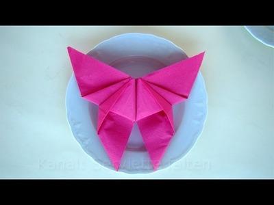 Servietten falten: Schmetterling - einfache Osterdeko selber machen