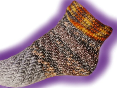 Wirbel-Socken ohne Ferse häkeln lernen für Linkshänder