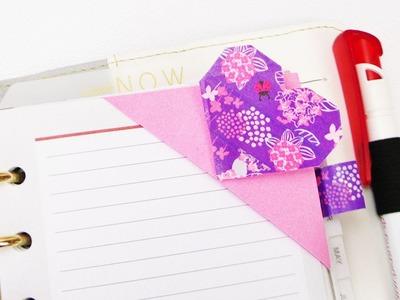 ♥ Lesezeichen in Herz Form ♥ mit Washitape | schönes & einfaches Origami Lesezeichen in Zweifarben ♥