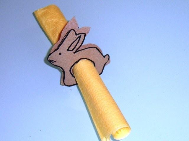 DIY Servietten falten Serviettenring Hase