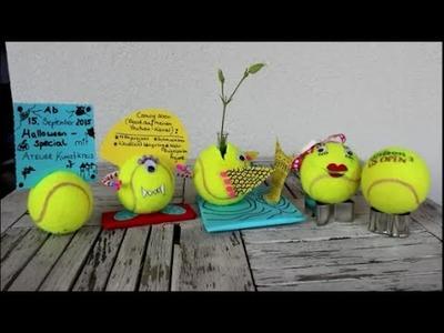 DIY: Tennisball. Tennisbälle basteln: 5 Upcycling Ideen ☺Blumenvase, Zettelhalter, Geheime Spardose