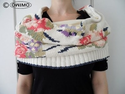 Wie man einen Endlos Schal aus einem Pulli macht - OWIMO Design Upcycling