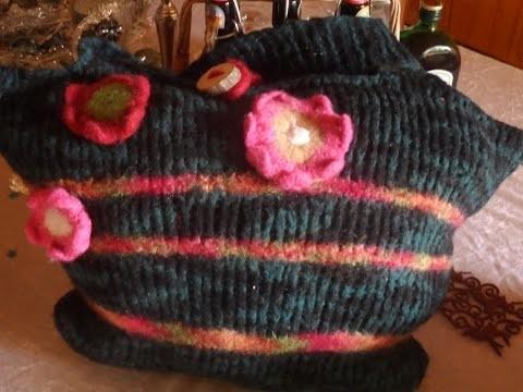 DIY: keka große Tasche,Bag stricken und filzen.verfilzen,auch für Normale Wolle Part 3