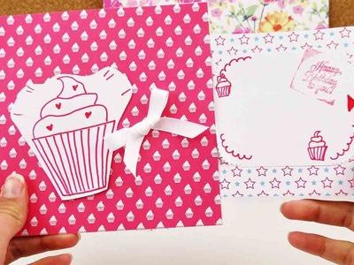 Geburtstagskarte mit Schiebelement | Super süße Karte mit Cupcake Motiv | Happy Birthday