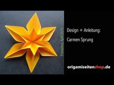 Primavera (Teil 1), Anleitung für eine sechseckige Origami-Blüte (Carmen Sprung)