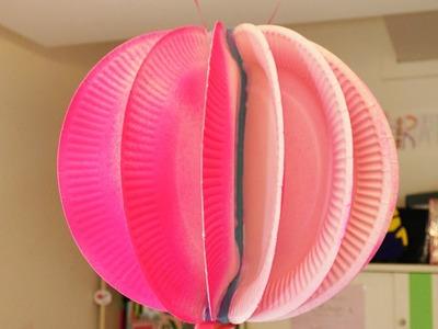 Tolle Dekokugel selber machen | Pinke Kugel als Zimmerdeko | Kugel aus Papptellern | Sommer Party