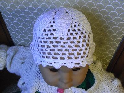 Baby Mütze Häkeln m. Ajourmuster*Filethäkeln Baby hat crochet*Tutorial Handarbeit