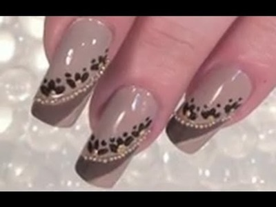 Full Cover Nail Art Design Tuorial in Nude mit Miniperlen